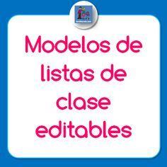 Diferentes modelos de listas de clase editables en formato word, para descargar, modificar e imprimir. Listas de clase horizontales, apaisadas, con foto...