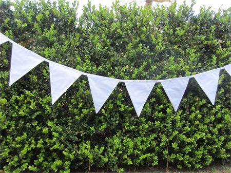 Crisp White Fabric Wedding Bunting | by LittleStarrs on madeit.com.au |