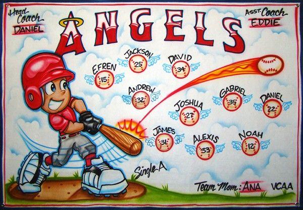 Baseball Banner - Angels - Airbrush