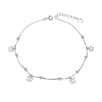 SHEGRACE 925 Sterling Silver Anklet with Hexagram Platinum 200mm for Woman 4AwjI