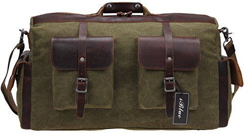Iblue Large Canvas Leather Business Travel Duffle Bags Weekender Handbag Overnight Bag 21 Inch#10191