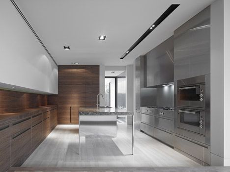 Minimalist kitchen. Cassell Street House by b.e. Architecture