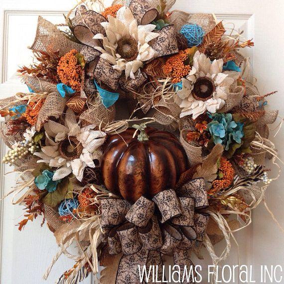 Fall Wreath, Mesh Wreath, Autumn Wreath, Burlap