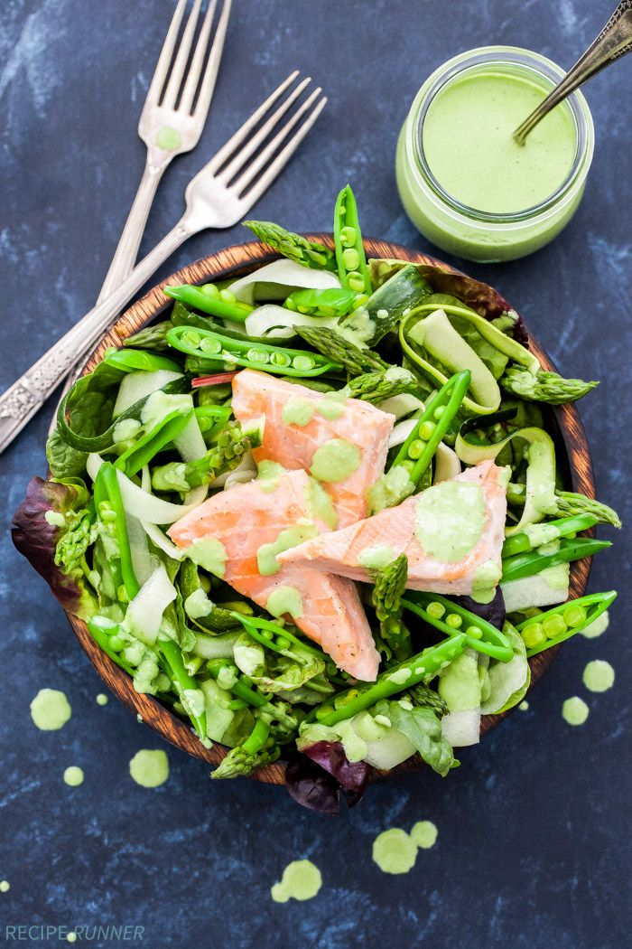 Take your salad to the next level with this Salmon and Green Vegetable Salad with Green Goddess Dressing! Loaded with asparagus, sugar snap peas, cucumber and zucchini ribbons.