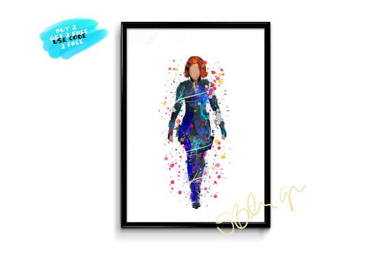 Black Widow Poster Watercolor The Avengers Poster Watercolor