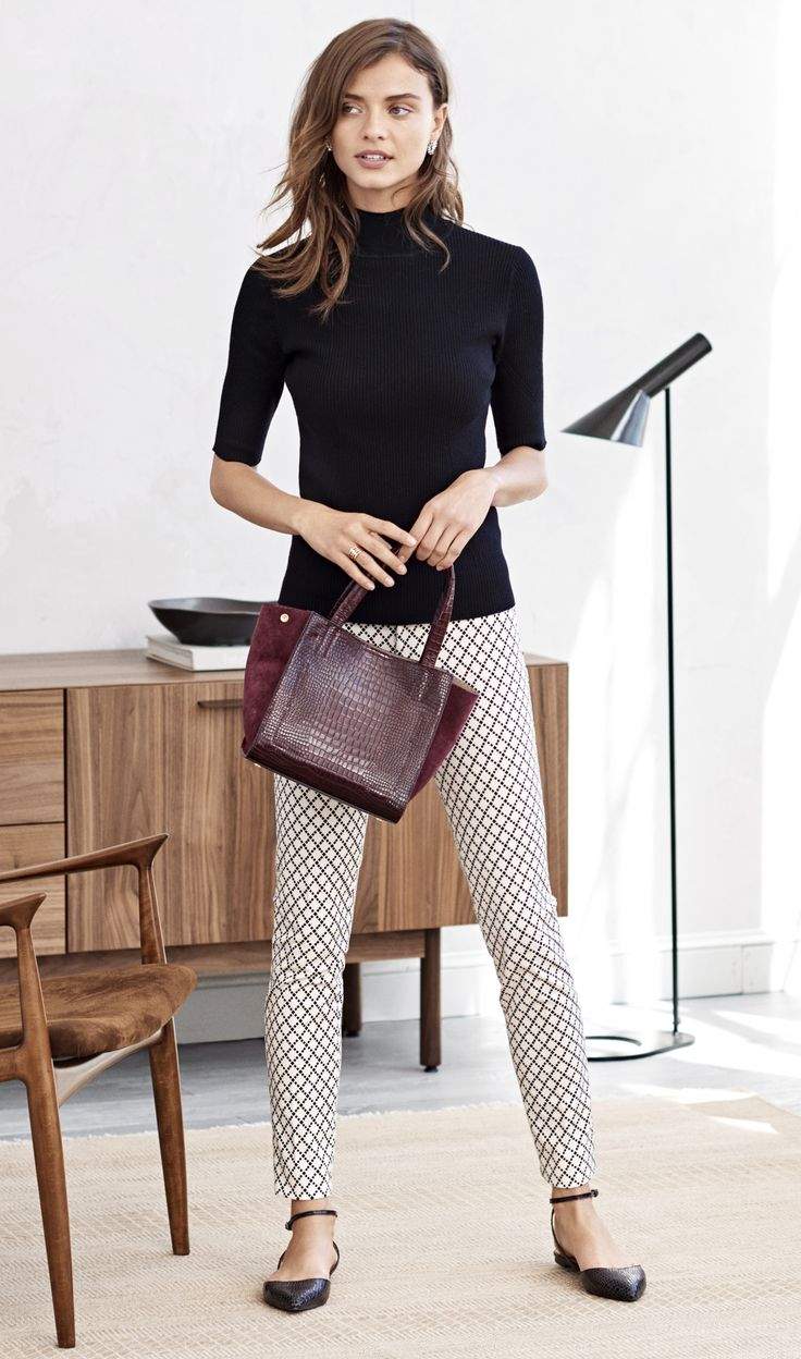 Our flattering patterned pant are a definitely wardrobe must have! Pair them with your favorite flats and a classic turtleneck for an effortlessly chic look | Banana Republic