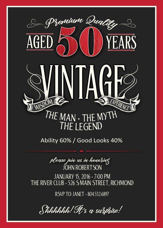 50th Birthday Invitation For Men Jpeg Printable Aged To 50th Birthday Invitations Vintage Birthday Invitations 50th Birthday Party Invitations Mens 50th birthday invitations