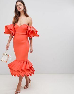 bad78023c5ca PREMIUM concertina hem bodycon midi dress   ababaawah lace style ...