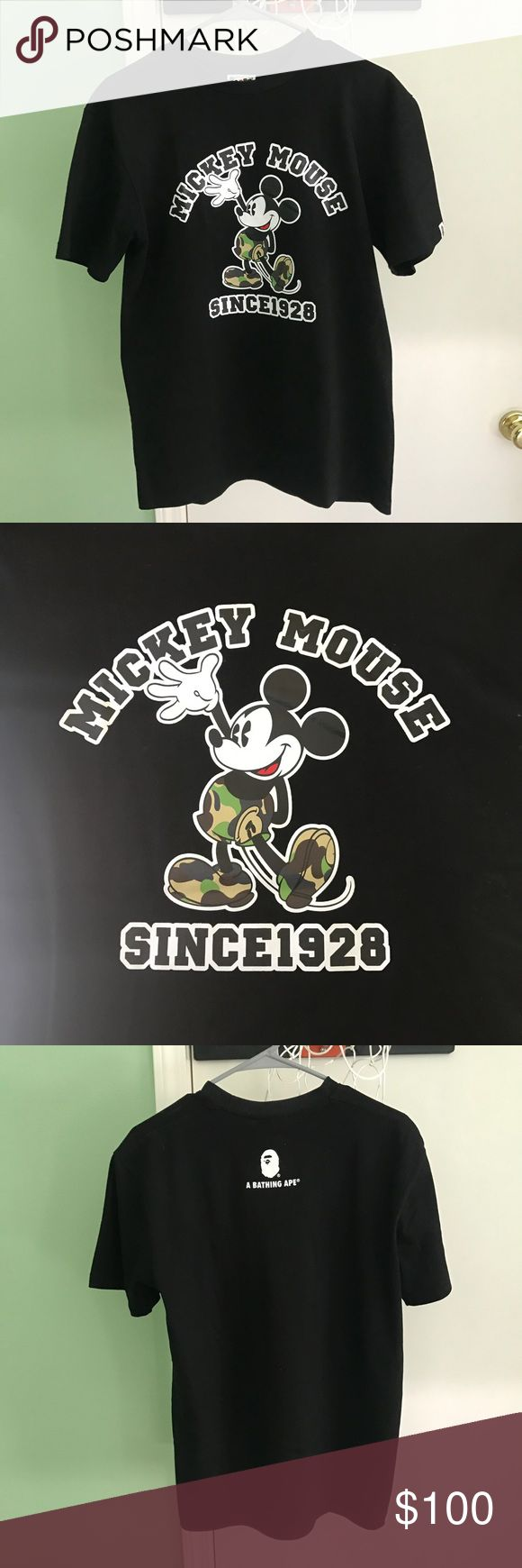 Authentic Bape Mickey Mouse / Disney Tee For sale is a brand new Bape x Disney tee. 100% authentic as seen by the tags. Only taken out of bag for photos. Size L, fits true to size.   This shirt has never been worn- it sat in my closet so I'm deciding to sell. 10/10 condition, brand new, no marks stains or flaws. Comes with bag as well.   Shipped via USPS priority mail the day of or day after your purchase. Please message me with any further questions or inquiries, or for more photos. Thank…