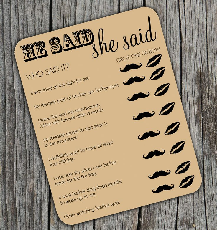 game for bridal shower free%0A He Said She Said Bridal Shower Activity Game on Kraft Brown Paper Set of