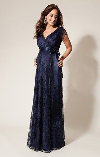 New Fashion Maternity Evening Dresses 2015 Navy Lace Sexy V-neck Short Sleeve Special Occasion Dress Pregnant Women