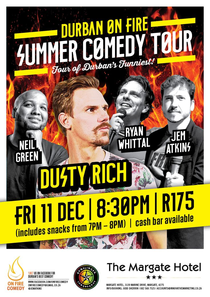 #SummerComedyTour at @MargateHotelKZN with @JemAtkins @DustyRich @neilgreen82 @RyanWhittal http://bit.ly/1OUqD37