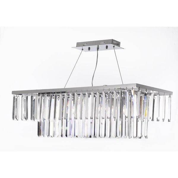 Gallery Contemporary 8-light Crystal Modern  $250 ITEM#: 16614463 contemporary crystal chandelier. The polished chrome finish is highlighted by eight 40-watt lights for a sophisticated finish to your home interior.     This item also works with energy efficient bulbs, halogen bulbs, compact fluorescent bulbs, LED bulbs etc Fixture finish: Chrome   Number of lights: 8 Lights  Requires 8 40-watt candelabra bulbs Dimensions: 47.25 inches high x 47.25 inches wide
