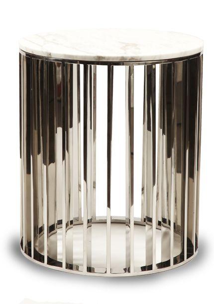 Erinn V. - George V Side Tables - Polished Brass Nickel Chrome