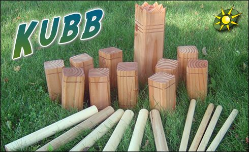 Kubb is a cross between horseshoes and bowling. Easy to make your own set. Can be played on almost any flat surface.