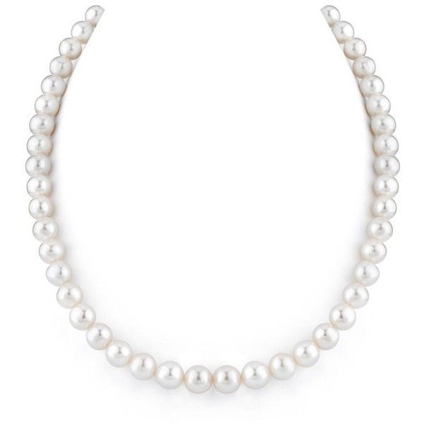 8.0 8.5mm Cultured Freshwater Pearl Strand Necklace with 14K White... ❤ liked on Polyvore featuring jewelry, necklaces, white gold jewelry, freshwater pearl jewelry, filigree necklace, clasp necklace and 14 karat gold necklace