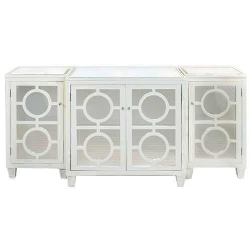 Moss Covered Three Handled Family Credenza: Worlds Away Ava White Buffet