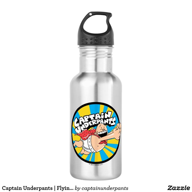 Captain Underpants | Flying Hero Badge. Producto disponible en tienda Zazzle. Product available in Zazzle store. Regalos, Gifts. #bottle #botella