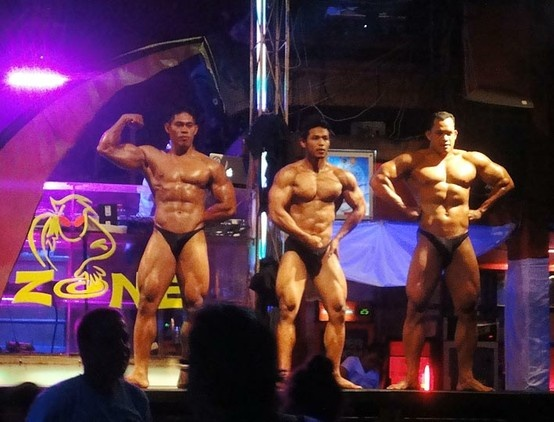 Indonesian men body building contest at Kuta Bali