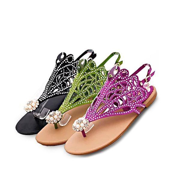Women Beach Sandals Bead Pearl Hollow