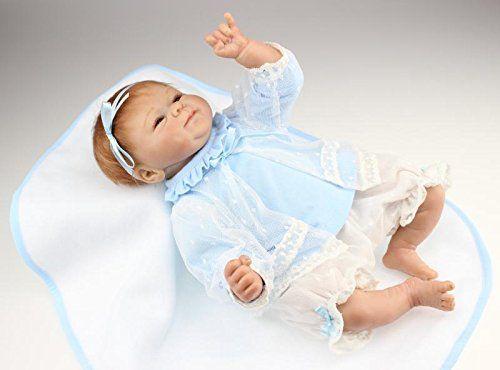 NPKDOLL Reborn Bambino Bambola Morbido Silicone 18 Pollici 45 Centimetri Magnetica Bella Giocattolo Realistica Ragazzo Sveglio Ragazza Sorriso Blu Gonna Bambolina Doll A1IT