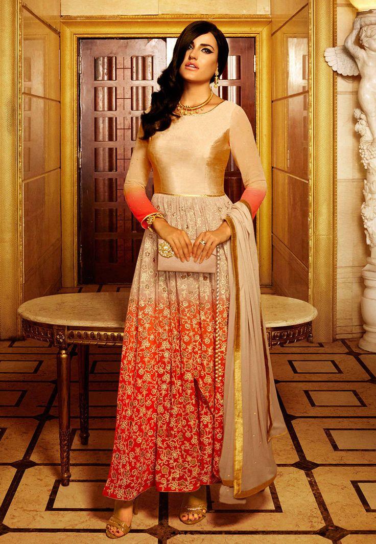 Red Faux Georgette Abaya Style #ChuridarKameez