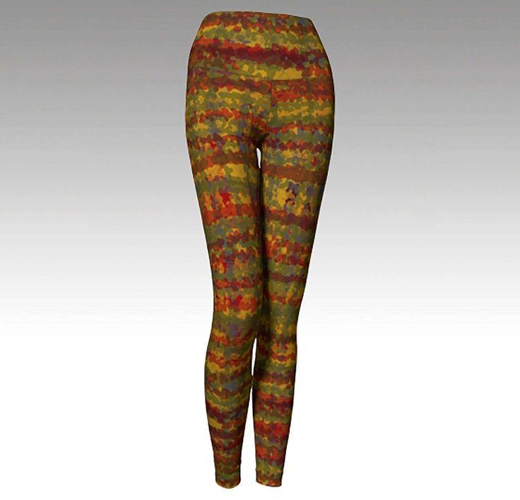 Modern Plaid No 4, Plaid Yoga Leggings, Yoga Pants, Printed Leggings, Women's Leggings, Preppy Leggings, Preppy Plaid, Red and Gold Leggings by ARTbyKellyHAND on Etsy