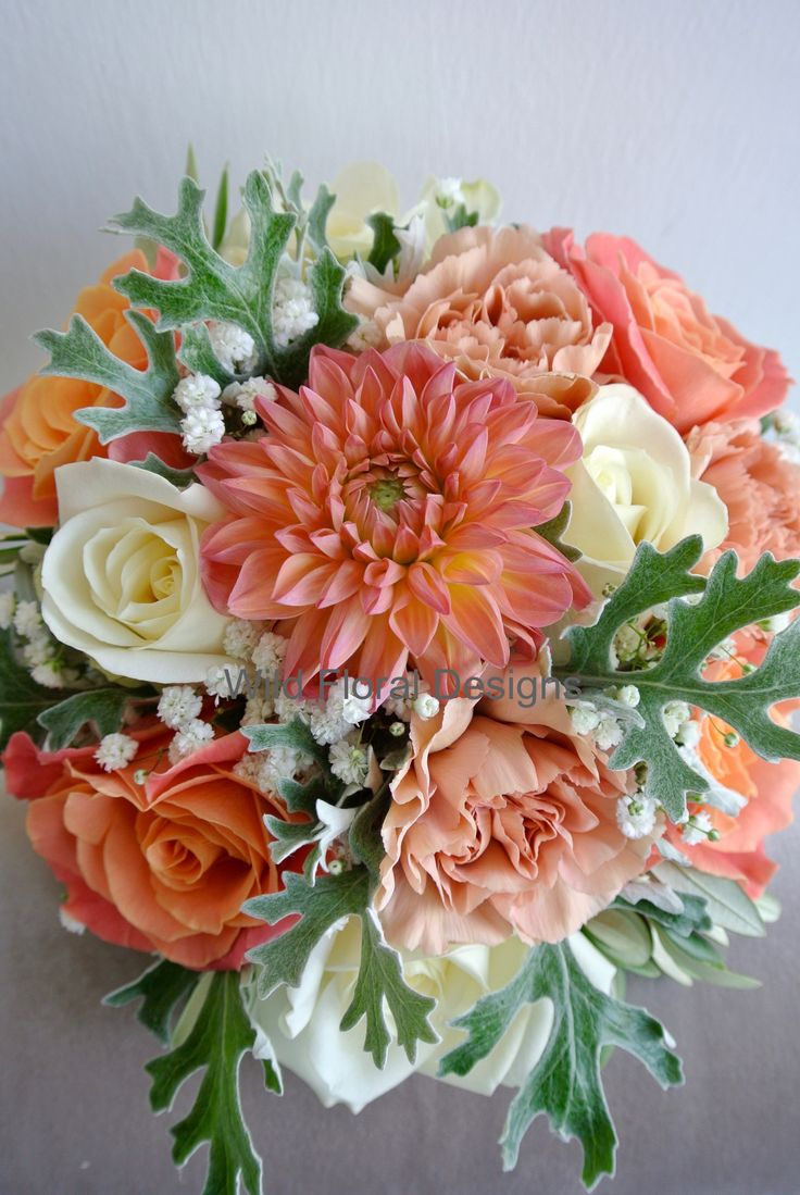 Coral wedding flowers, bridesmaids bouquet, Dahlia, Roses, Carnations, Gyp, Dusty miller.