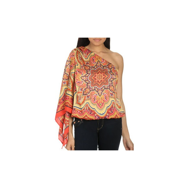 Bubble Hem Scarf Print Top | Shop Tops at Arden B (49 CAD) found on Polyvore