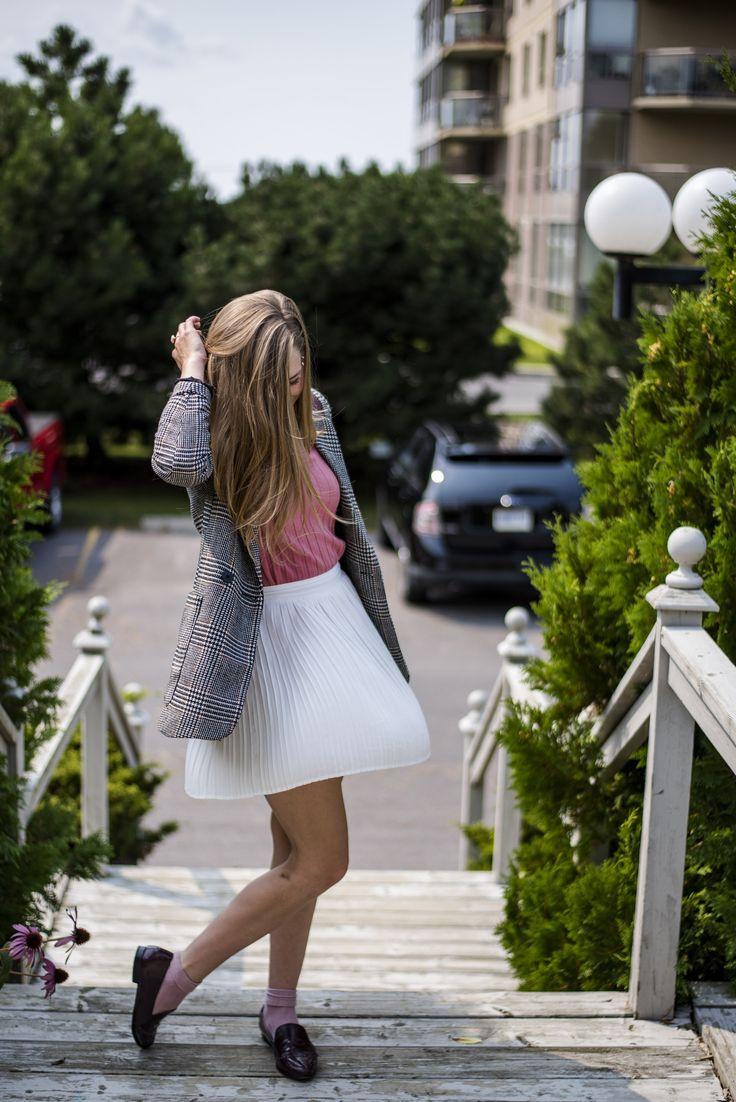 Menswear Blazer & Pleated Skirt