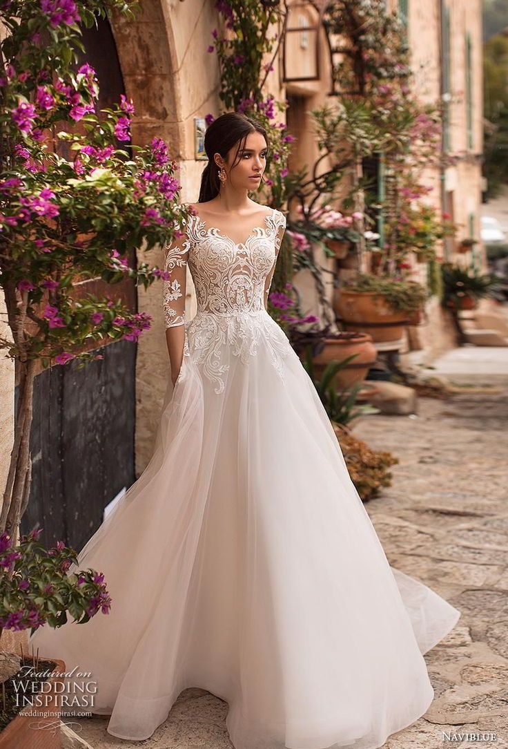naviblue 2019 bridal half sleeves scoop neckline closely embellished bodice roma…