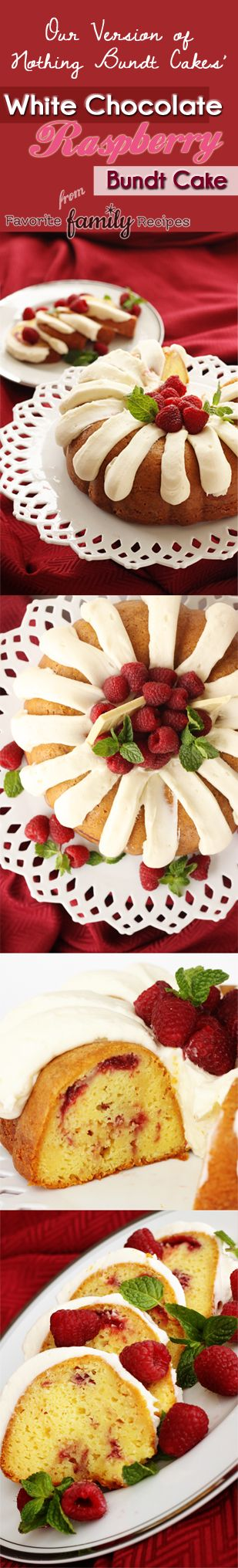Nothing Bundt Cakes' White Chocolate Raspberry Cake -- PERFECT for Valentine's Day! Find all our yummy pins at https://www.pinterest.com/favfamilyrecipz/