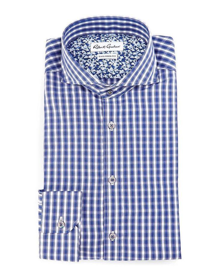 Robert Graham X Dress Shirt Men Sz 42 Neck 16.5 Tailored Fit Blue Firenze $168 #RobertGraham
