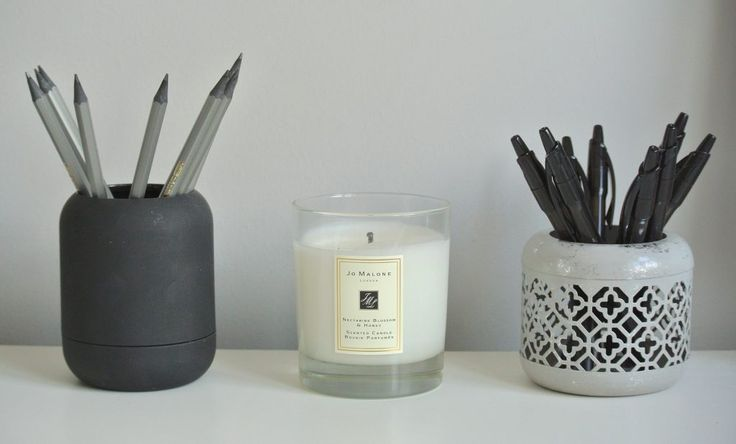 Home office decor, storage, Jo Malone candle