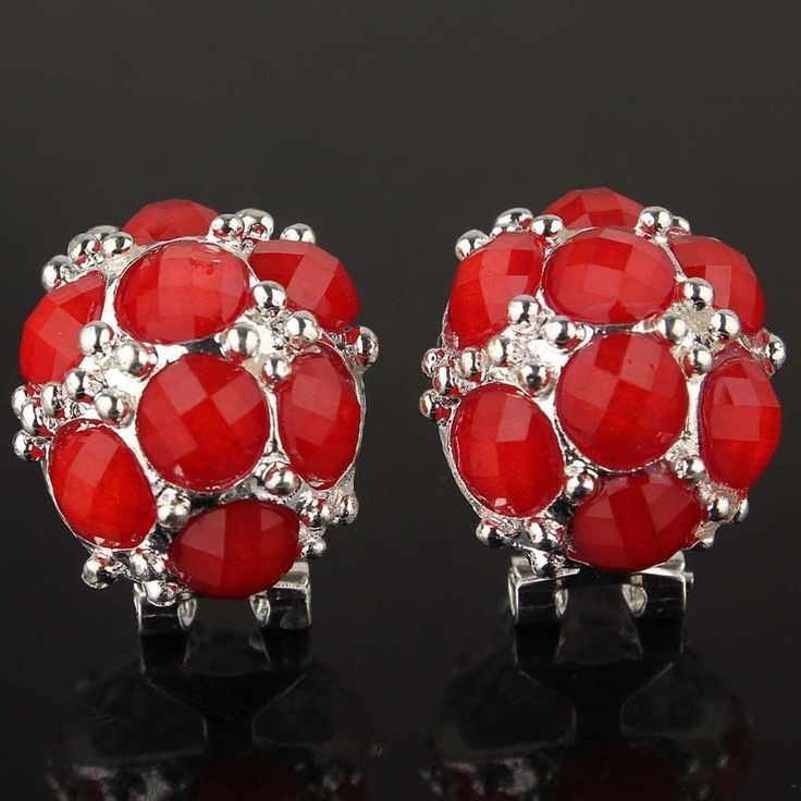 New Attractive  Silver color  Red crystal stud Earrings Jewelry party gift #studEarrings