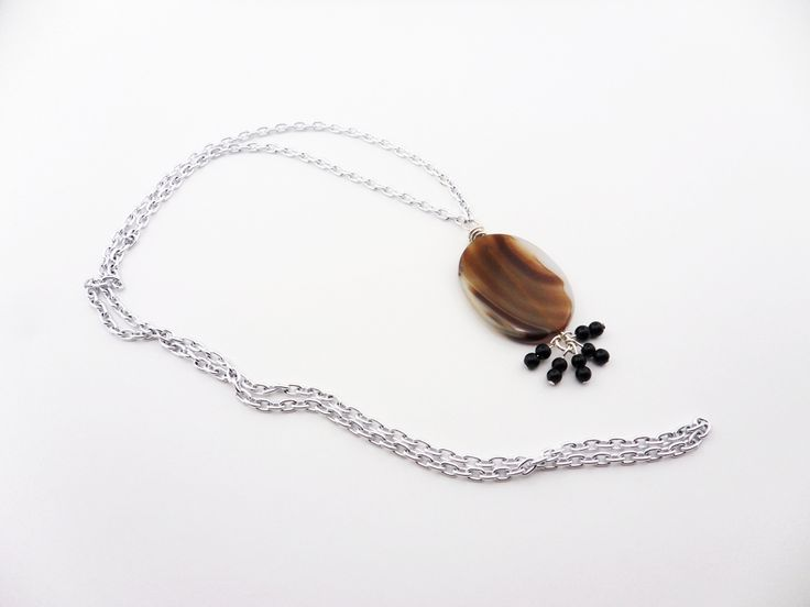 """Natural Oval Agate Stainless Steel Chain Necklace 30"""""""