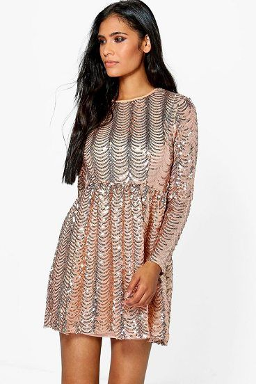 Xena Printed Sequin Long Skater Dress by Boohoo. Dresses are the most-wanted wardrobe item for day-to-night dressing. From cool-tone whites to block brights, we've got the everyday skater dresses and party-ready bodycon styles that are perfect for transitioning from day to play. Minis,... #boohoo #dresses