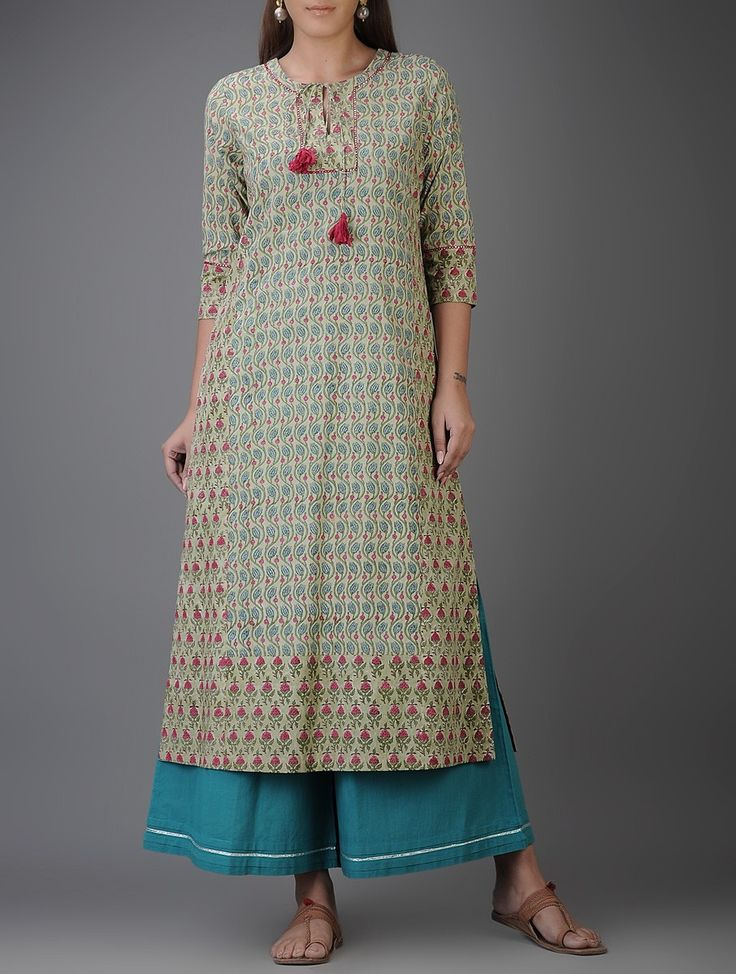 Buy Green Blue Pink Block printed Cotton Kurta with Mirror Work Voile Women Kurtas Harita dhoti pants and more Online at Jaypore.com
