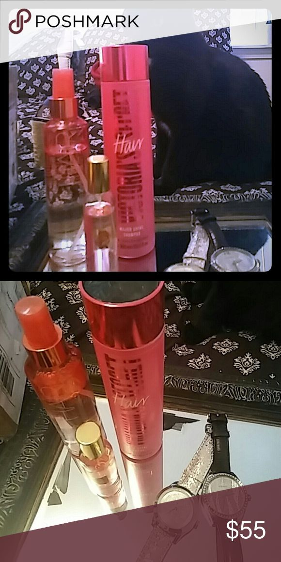 Collection/bundle of Victoria secret and Fossil. I meant to grab a conditioner and shampoo but grabed two shampoo. Getting rid of one. Major shine shampoo. 10.1 fl oz.1. My Desire body spray. Used a few times bit found not my scent. Great smell for so many others. Small size. VS beach wave hair. Used a bit. 3\4 still there. Great to make that beautiful long or short wavy beach look.  Also if you chose are these there is also a Fossil watch. Has rather big round face. Black leather band and…