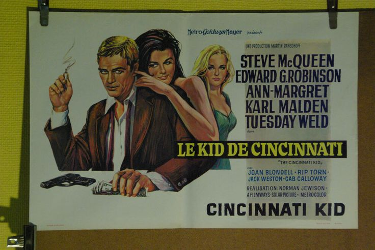 THE CINCINNATI KID (STEVE MACQUEEN) ORIGINAL BELGIAN MOVIE POSTER (1965)
