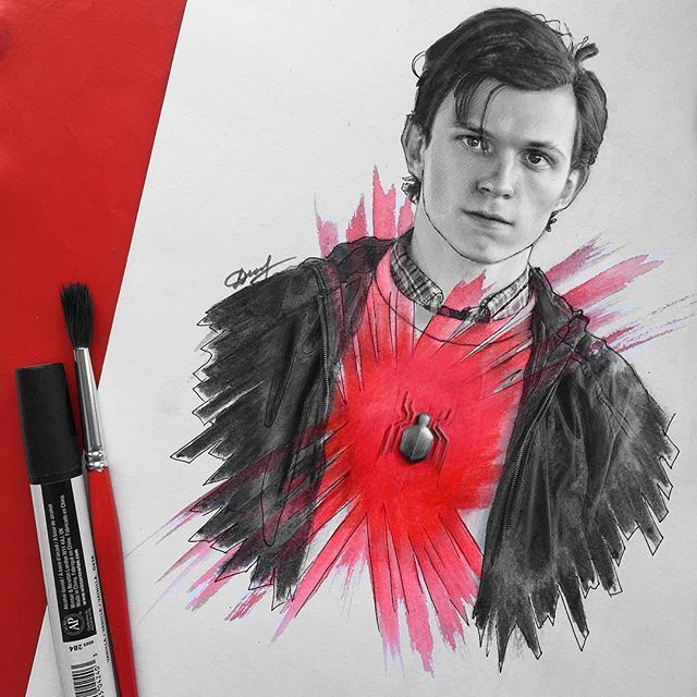how to draw tom holland easy