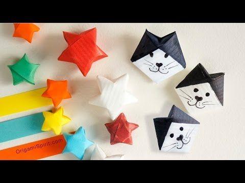 Pasos para hacer estrellas con tiritas de papel y gatitos de la suerte                                                                                                                                                     Más