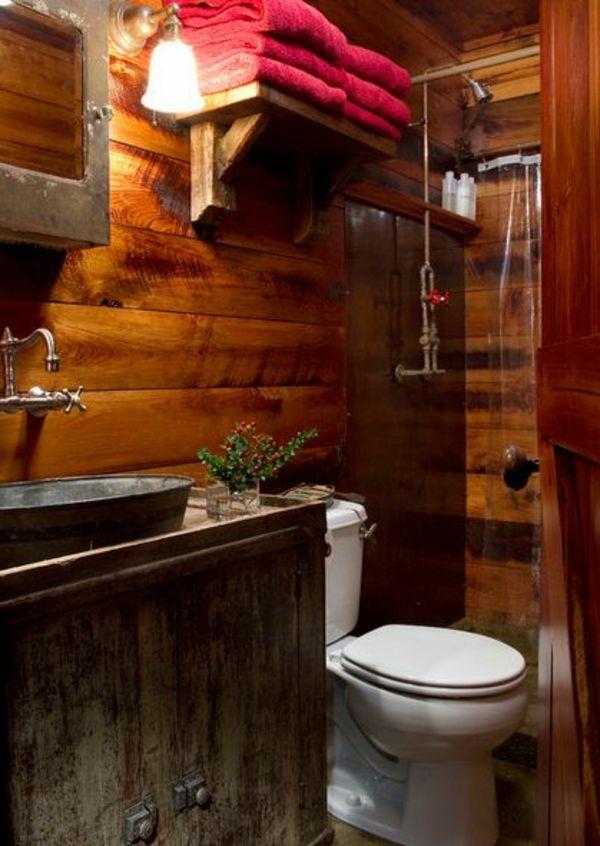rustikale badezimmer design toilette waschbecken holz idee, Hause ideen