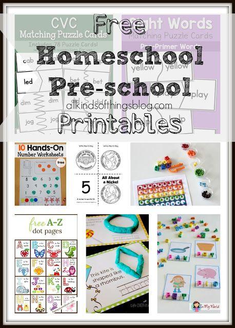Free Homeschool Pre-school Printables