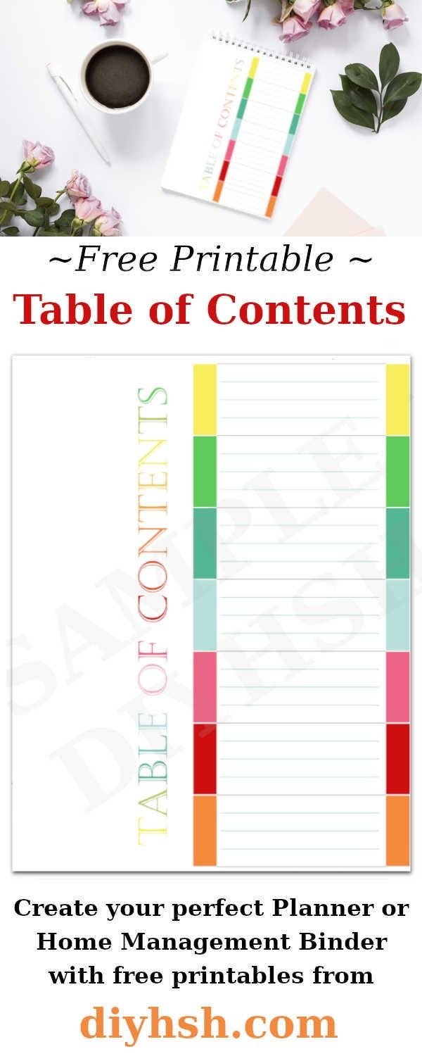 Table Of Contents Free Printable For Home Management Binder Or Planner Diy Home Sweet Home Home Management Binder Free Printables Diy Planner