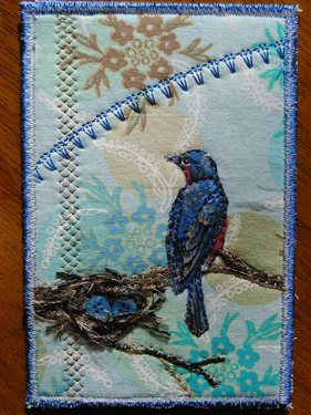Robin & Nest (Thank you postcard) - Media - Quilting Daily