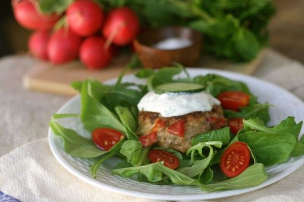 Greek Burger with Tzatziki Sauce - The Real Girl's Kitchen