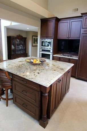 """Craftsman Kitchen with Breakfast bar, Viking fdsb5422 42"""" built-in side by side refrigerator, Flush, Kitchen island, One-wall"""