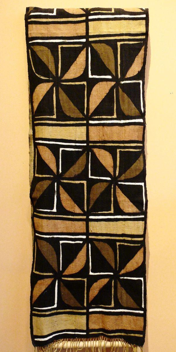 Bogolanfini Mud Cloth Runner, Burkina Faso - Stylized Flower