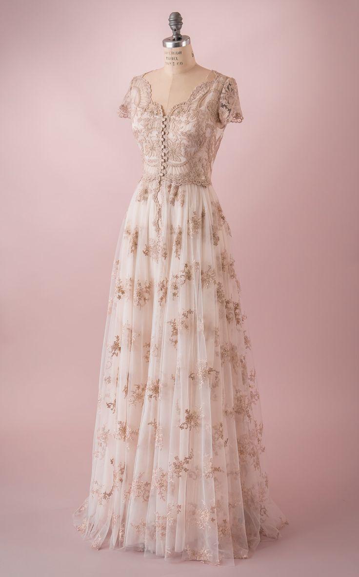 Elizabeth by Martin McCrea | Vintage inspired French Alençon lace fairy tale princess wedding dress with cap sleeves.